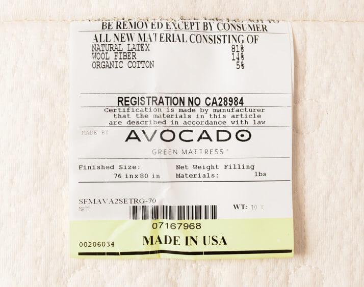 avocado green mattress label